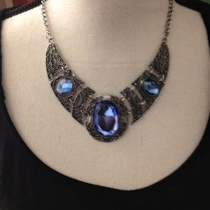 Blue and Silver Statement Necklace